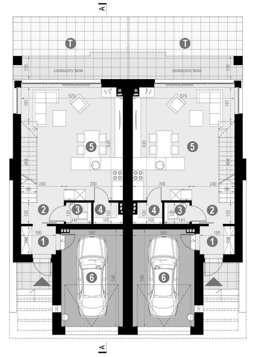 Rzut parteru POW. 63,7 m²