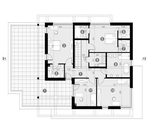 Rzut piętra POW. 214,4 m²