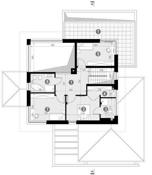 Rzut piętra POW. 95,5 m²