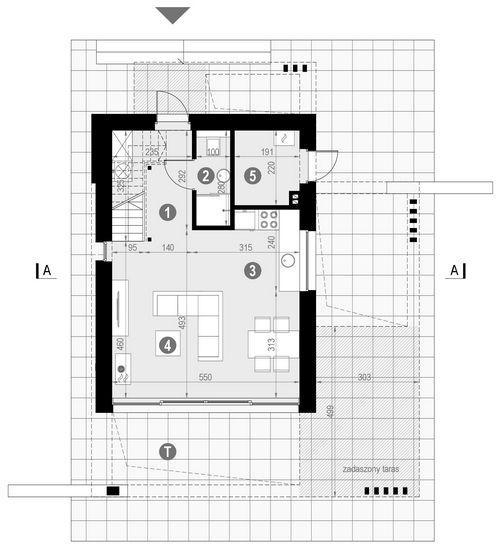 Rzut parteru POW. 40,9 m²