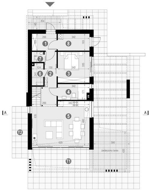 Rzut parteru POW. 70,1 m²