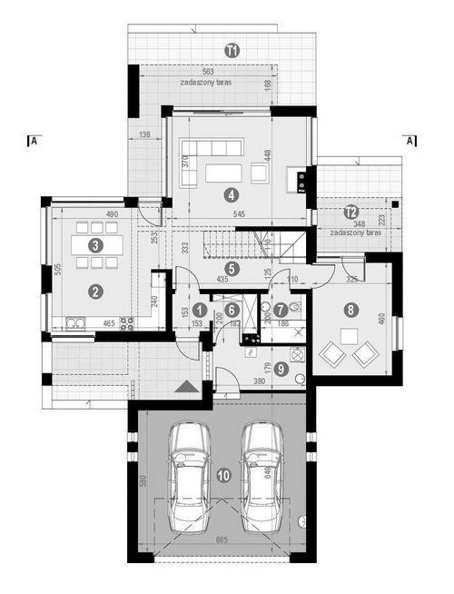 Rzut parteru POW. 132,2 m²