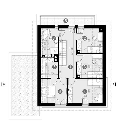 Rzut poddasza POW. 84,2 m²