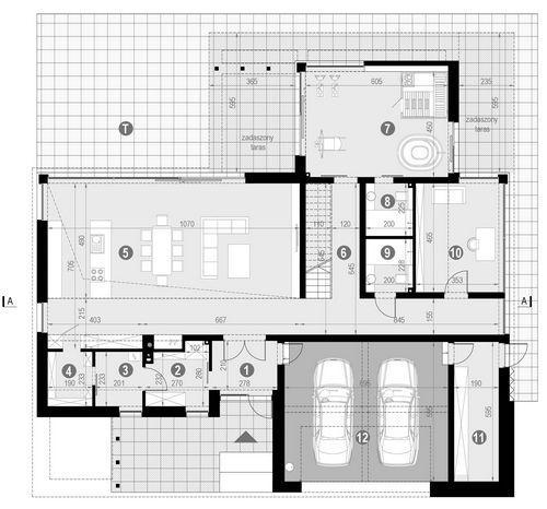 Rzut parteru POW. 222,1 m²