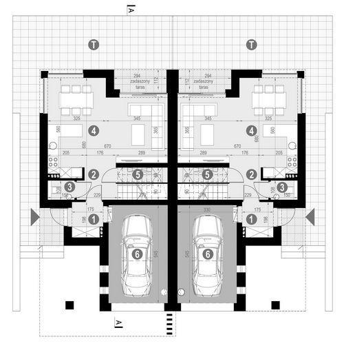Rzut parteru POW. 61,5 m²