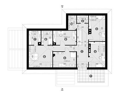 Rzut poddasza POW. 157,6 m²