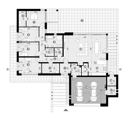 Rzut parteru POW. 244,5 m²