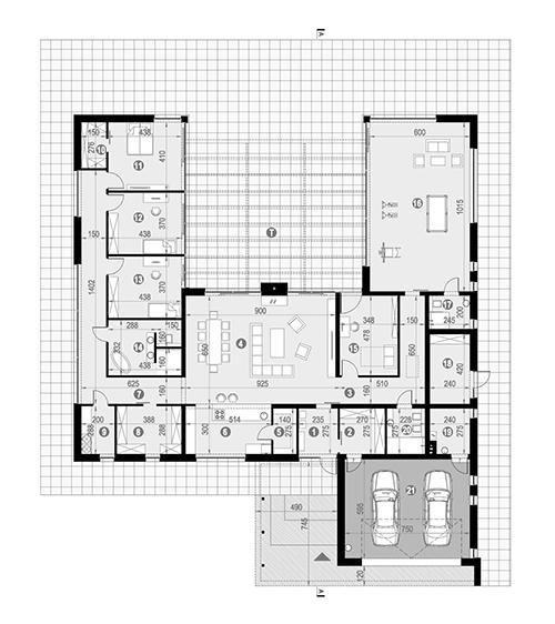 Rzut parteru POW. 370,9 m²