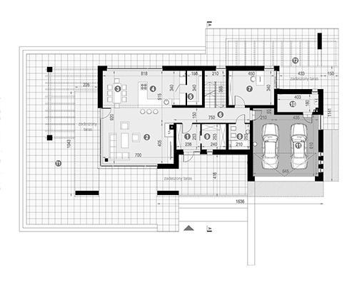 Rzut parteru POW. 170,3 m²