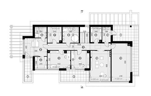 Rzut poddasza POW. 258,9 m²