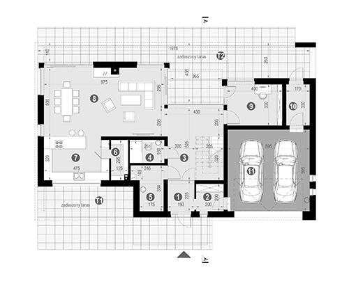 Rzut parteru POW. 152,7 m²