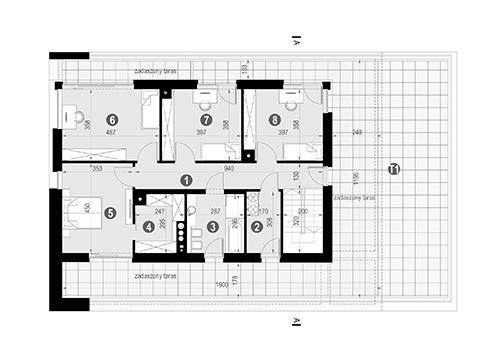 Rzut piętra POW. 203,8 m²