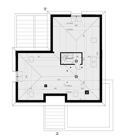 Rzut poddasza: do indywidualnej adaptacji (80,72 m2 powierzchni użytkowej) POW. 5,4 m²