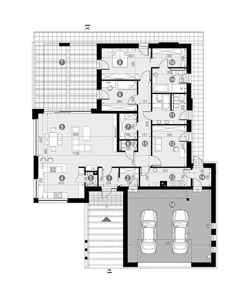 Rzut parteru POW. 233,3 m²