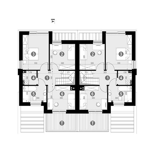 Rzut piętra POW. 58,7 m²