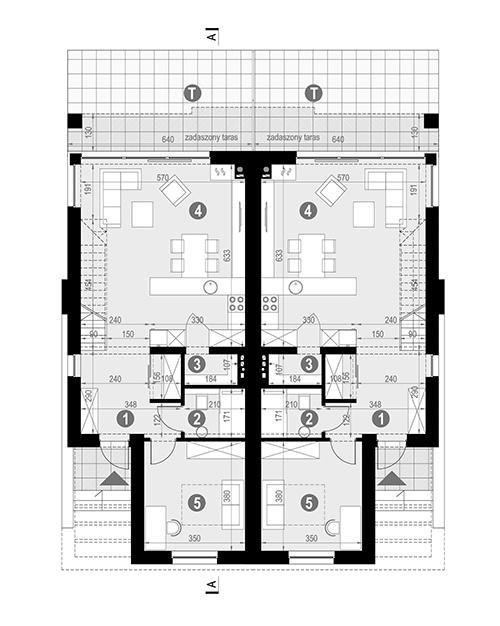 Rzut parteru POW. 63,5 m²