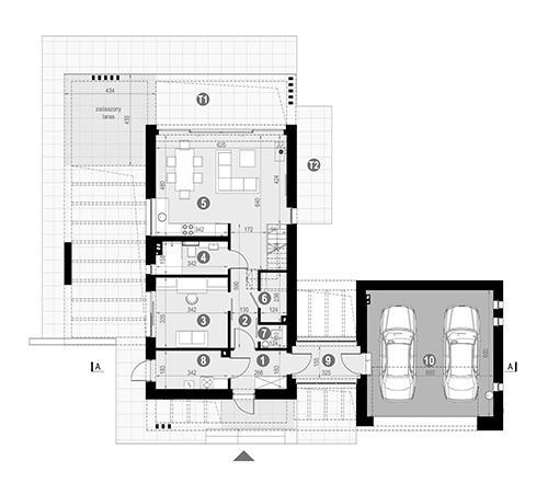 Rzut parteru POW. 110,4 m²