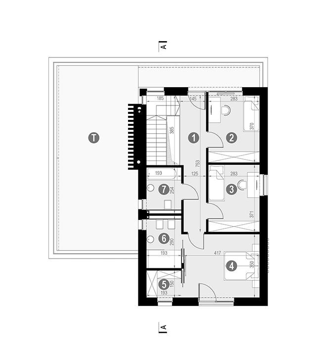 Rzut piętra POW. 115,0 m²