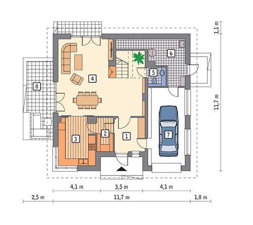 Rzut parteru POW. 102,2 m²