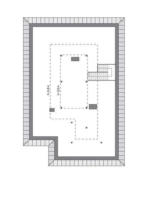 Rzut poddasza: Do indywidualnej adaptacji (47,8 m2 powierzchni użytkowej)