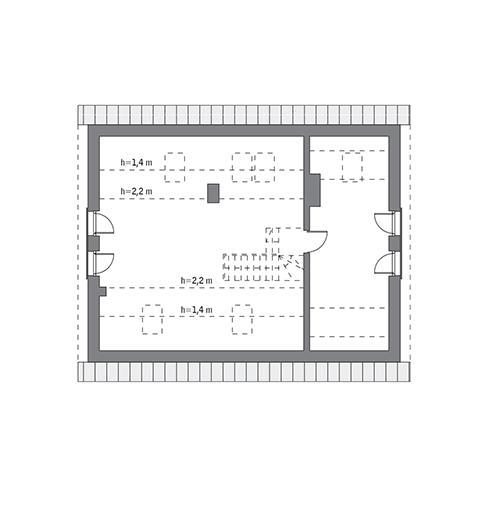 Rzut poddasza: do indywidualnej adaptacji (57,3 m2 powierzchni użytkowej)