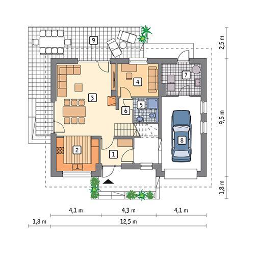 Rzut parteru POW. 87,3 m²