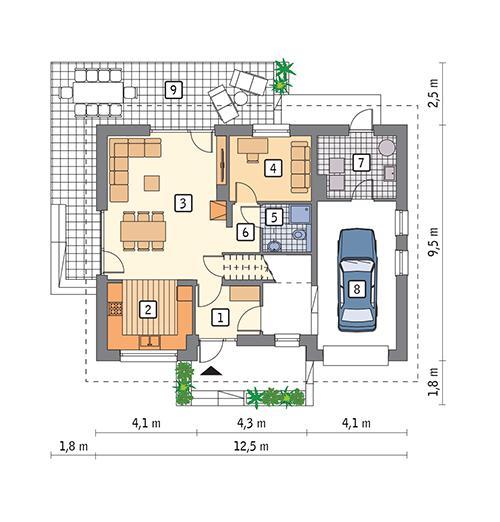 Rzut parteru POW. 87,1 m²
