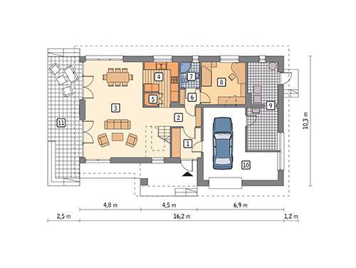 Rzut parteru POW. 117,3 m²