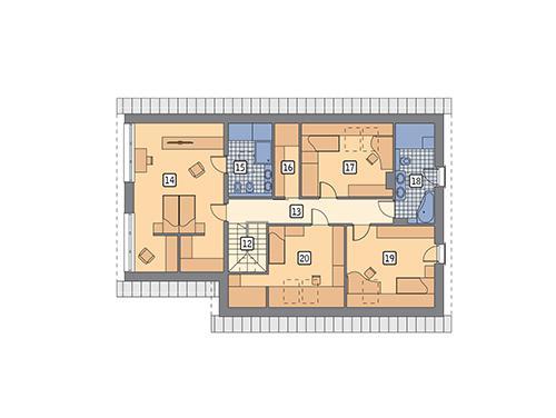 Rzut poddasza POW. 124,4 m²