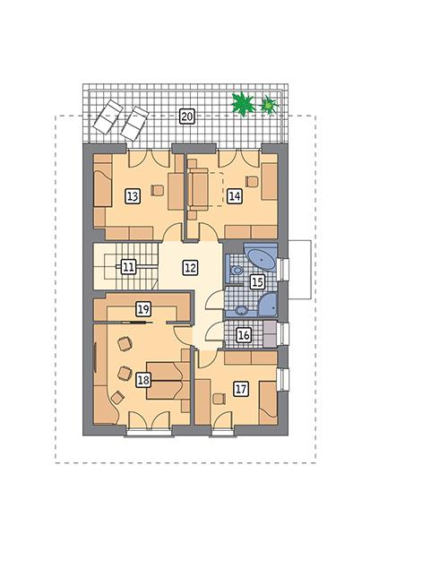 Rzut piętra POW. 111,5 m²