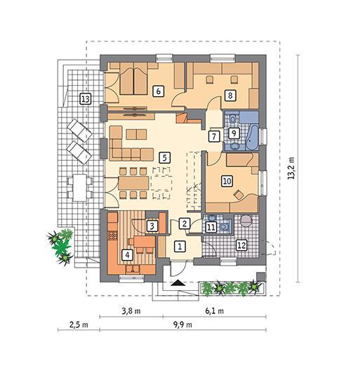 Rzut parteru POW. 98,3 m²