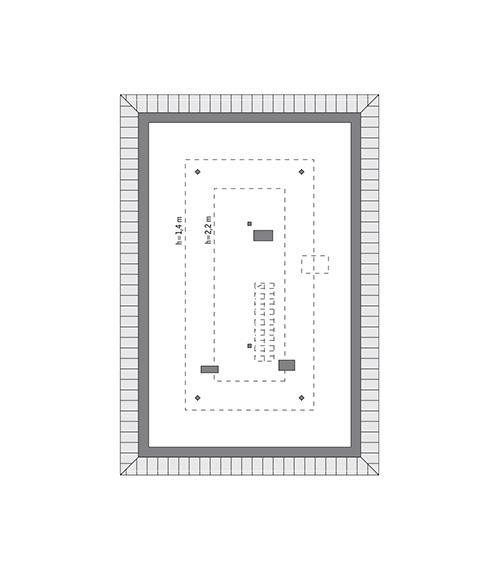 Rzut poddasza: do indywidualnej adaptacji (44,0 m2 powierzchni użytkowej)