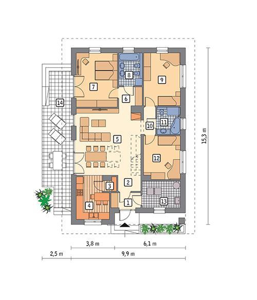 Rzut parteru POW. 113,4 m²