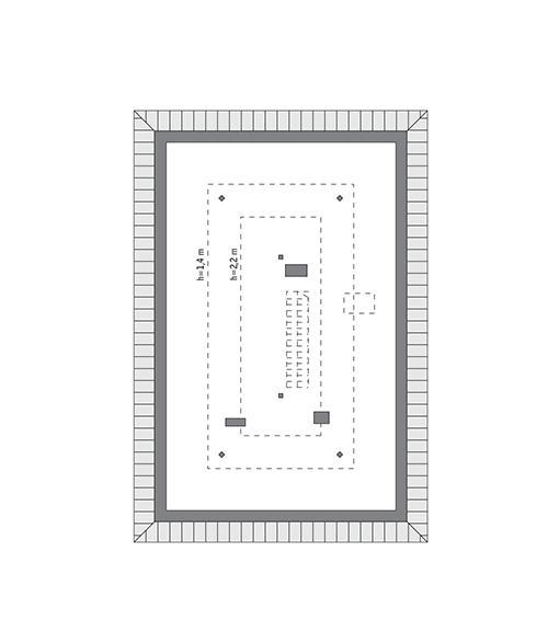 Rzut poddasza: do indywidualnej adaptacji (44,1 m2 powierzchni użytkowej)