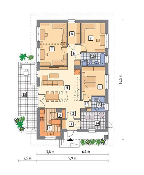 Rzut parteru POW. 123,4 m²