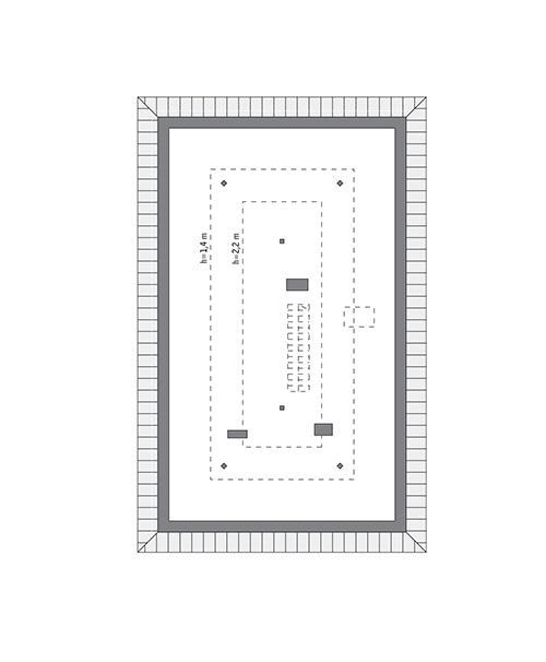 Rzut poddasza: do indywidualnej adaptacji (49,3 m2 powierzchni użytkowej)