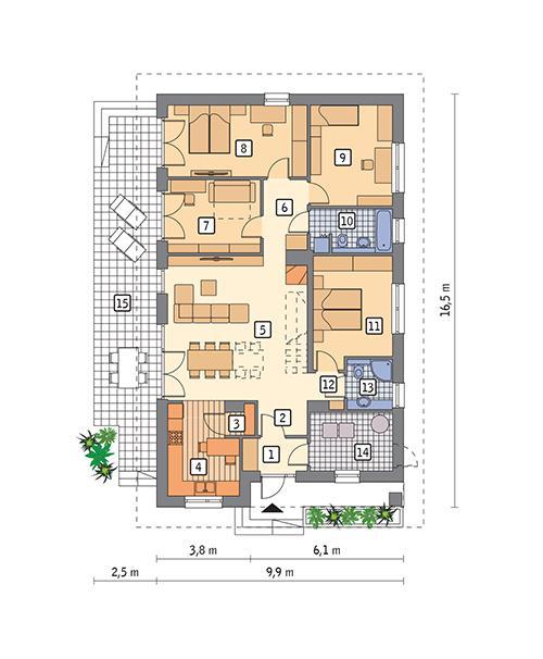 Rzut parteru POW. 123,3 m²