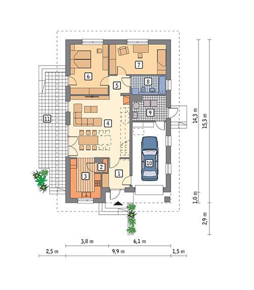 Rzut parteru POW. 113,9 m²