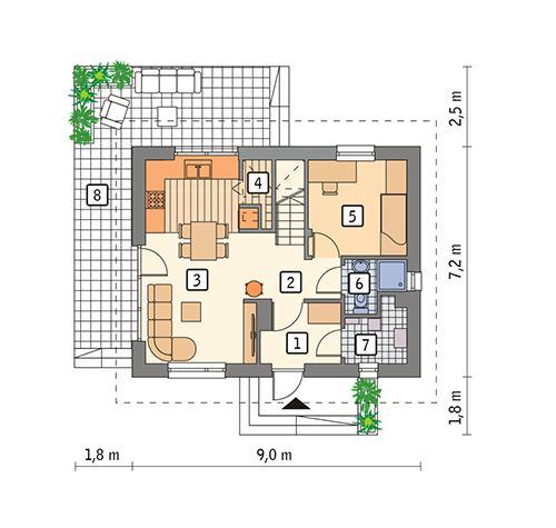 Rzut parteru POW. 45,5 m²