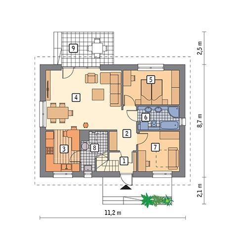 Rzut parteru POW. 73,5 m²