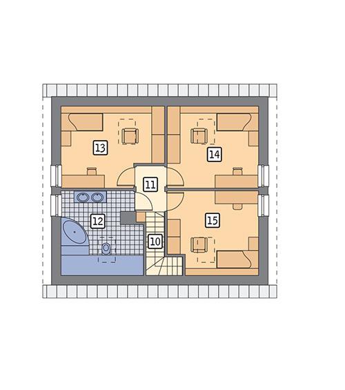 Rzut poddasza POW. 63,2 m²