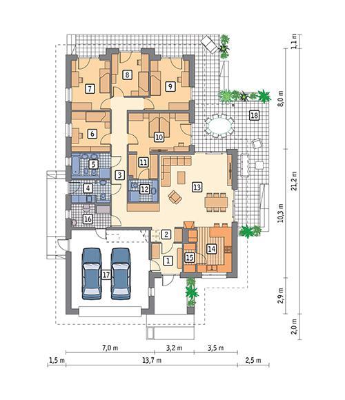 Rzut parteru POW. 193,2 m²