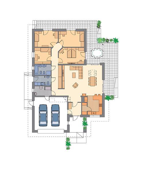 Rzut parteru: propozycja aranżacji z powiększonym salonem POW. 184,0 m²
