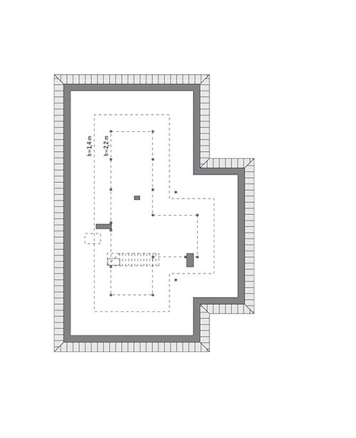 Rzut poddasza: do indywidualnej adaptacji (77,1 m2 powierzchni użytkowej)
