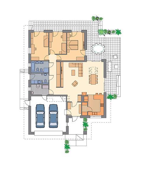 Rzut parteru: wariant I POW. 172,8 m²
