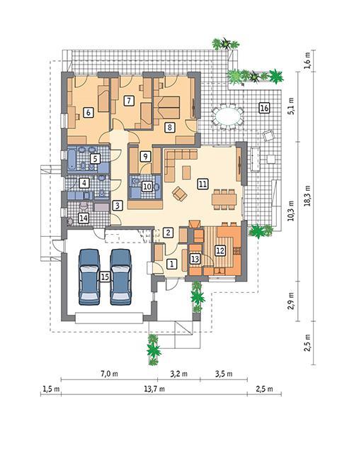 Rzut parteru POW. 171,8 m²