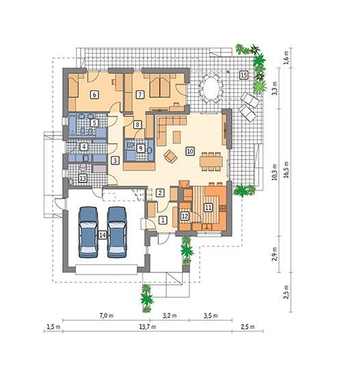 Rzut parteru POW. 156,2 m²