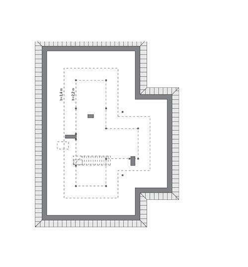 Rzut poddasza: do indywidualnej adaptacji (63,4 m2 powierzchni użytkowej)