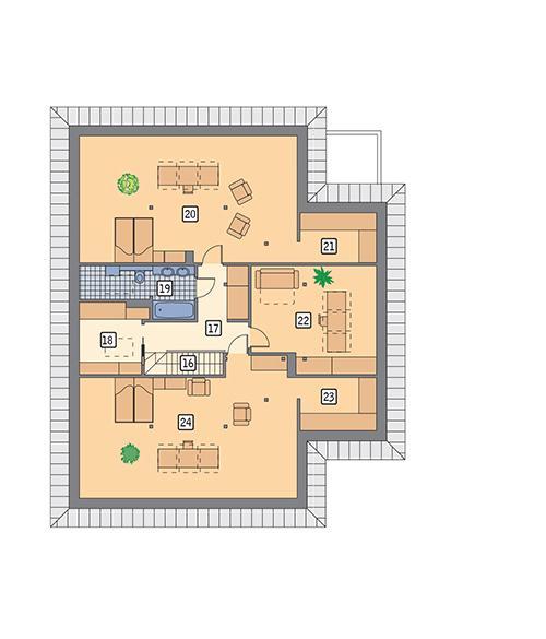 Rzut poddasza POW. 170,4 m²