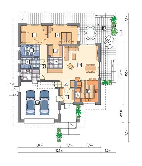 Rzut parteru POW. 155,8 m²